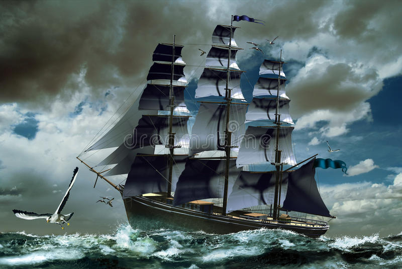 unsettled море парусника иллюстрация штока
