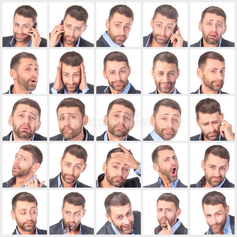 Unshaved gutaussehender Mann des Collagenporträts mit Unterschiedgefühlen lizenzfreie stockfotos
