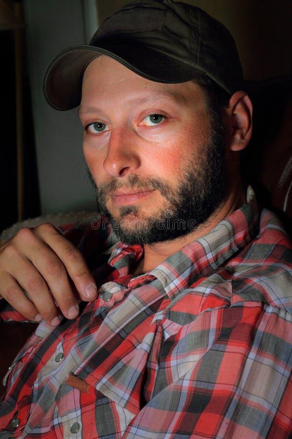 Unshaven Labor Man stock photography