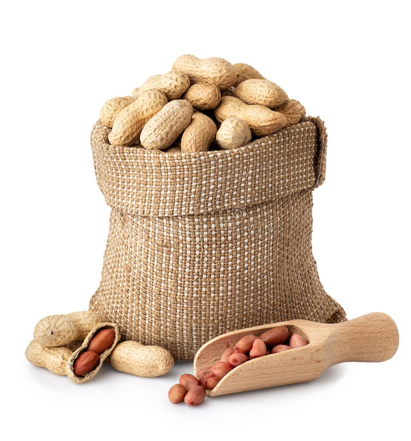 Unshelled jordnötter i säck royaltyfri bild