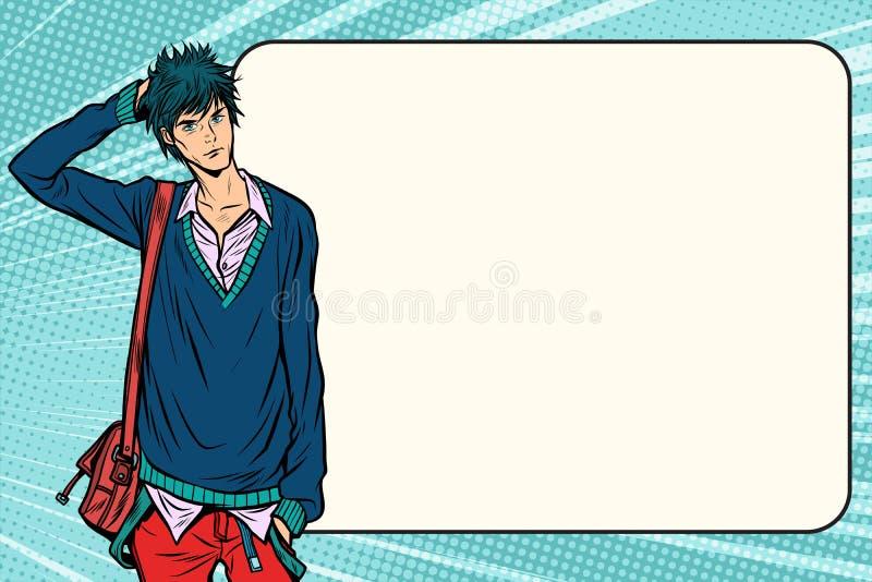 Unsichere Modestudentenhippie manga Animeart stock abbildung