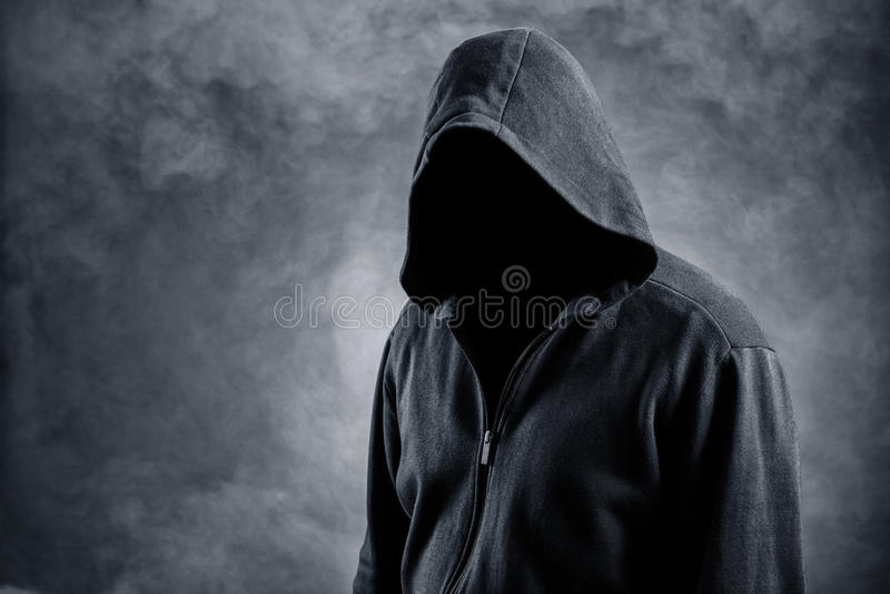 Unsichtbarer Mann in der Haube stockbild