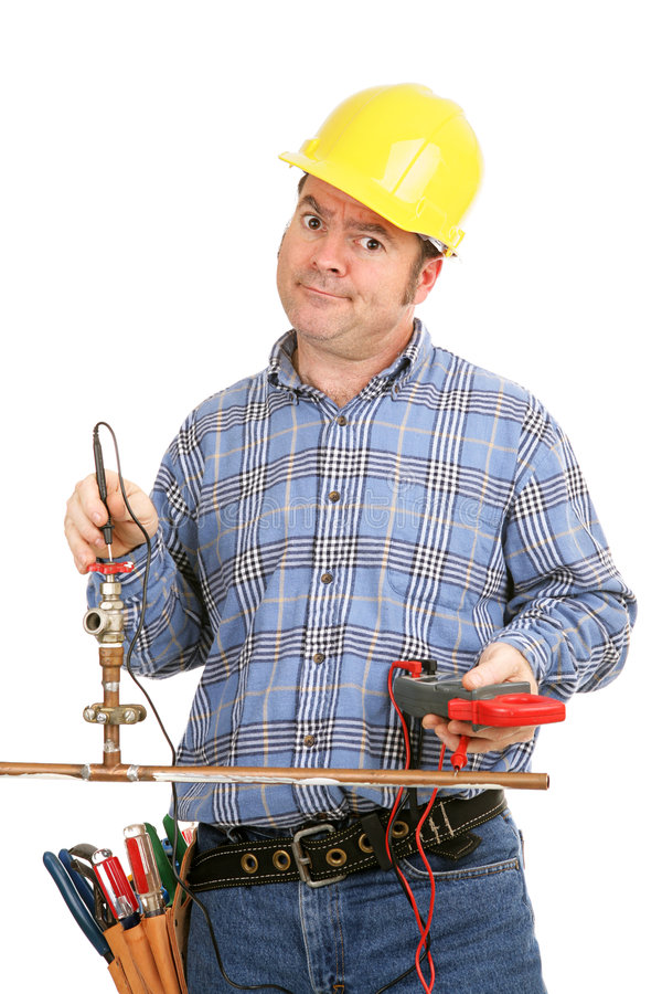 Unskilled at Plumbing royalty free stock photography