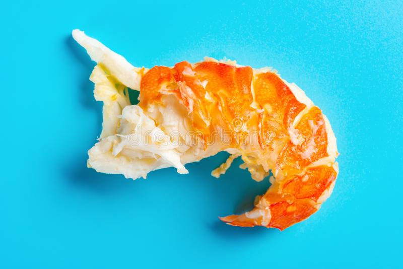 Unskin lobster on blue background royalty free stock photos