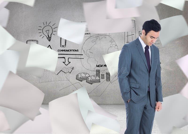 Unsmiling businessman standing. Composite image of unsmiling businessman standing stock photos