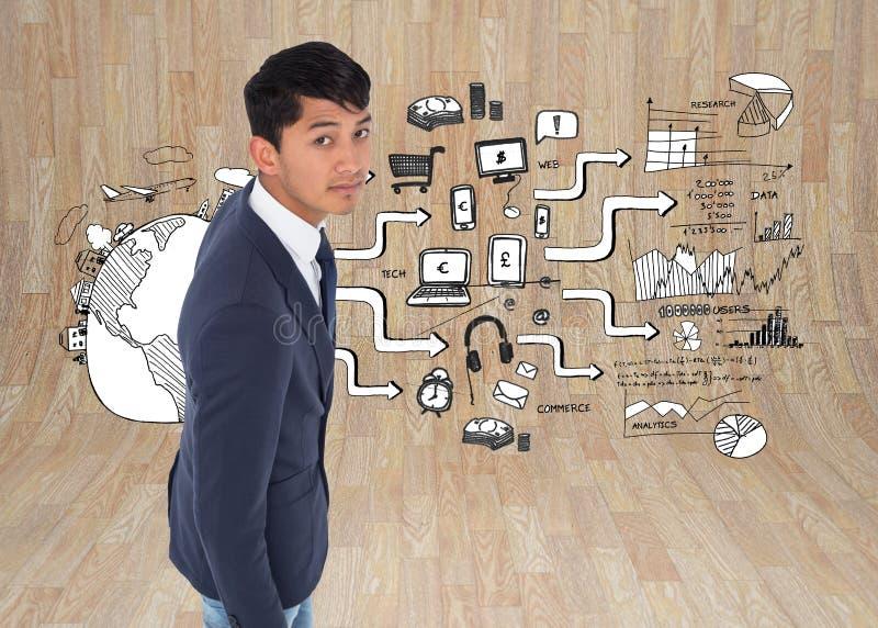 Unsmiling casual businessman walking. Composite image of unsmiling casual businessman walking stock photos