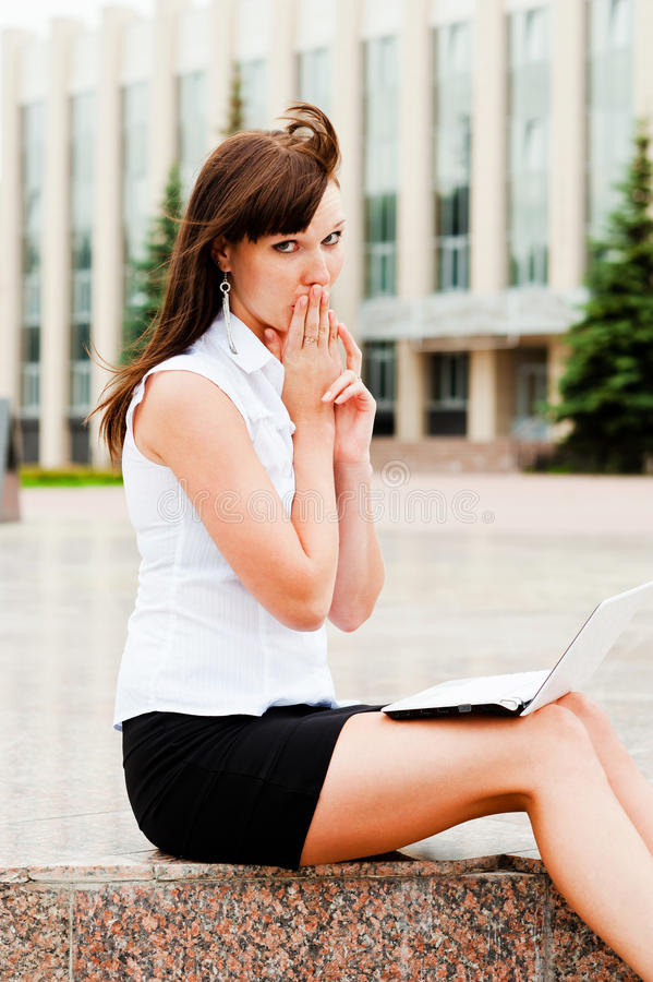 Unsolved mysteries. Business woman on the experiences of the error stock images