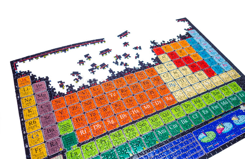 Unsolved puzzle of the chemical periodic table stock photos
