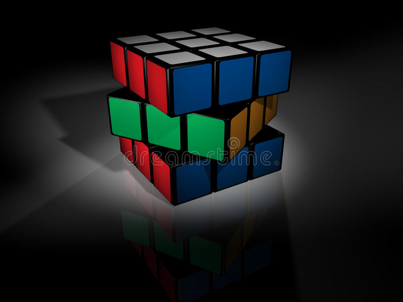 Unsolved rubik's cube on black royalty free illustration