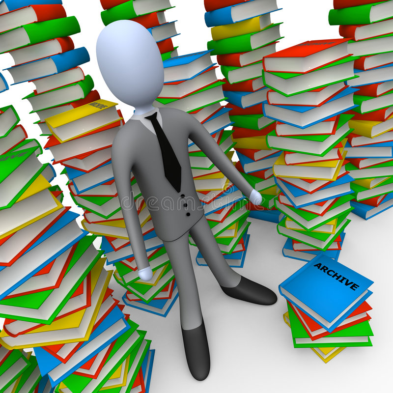 Unsorted Archive. 3d person with lots of books around him stock illustration