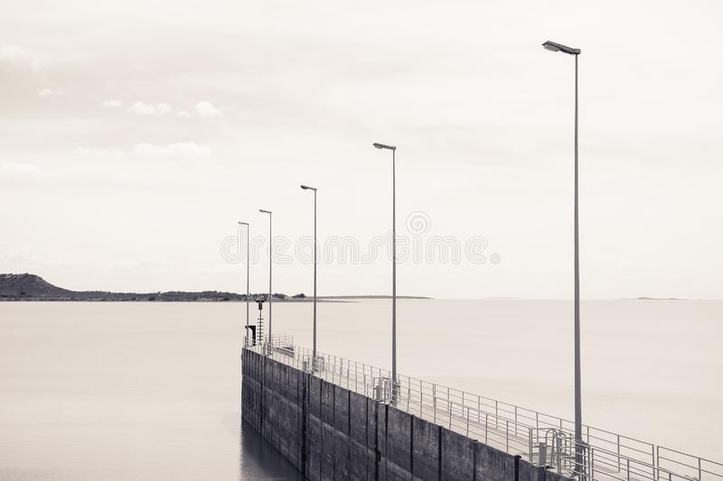 "unsplash oceano Pier Dock Light Pole Sky água do †de COM da "" imagem de stock royalty free"