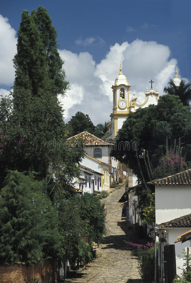 Unspoiled colonial street in Tiradentes, Minas Gerais, Brazil. An unspoiled colonial street in the town of Tiradentes, state of Minas Gerais, Brazil. Founded in stock photos