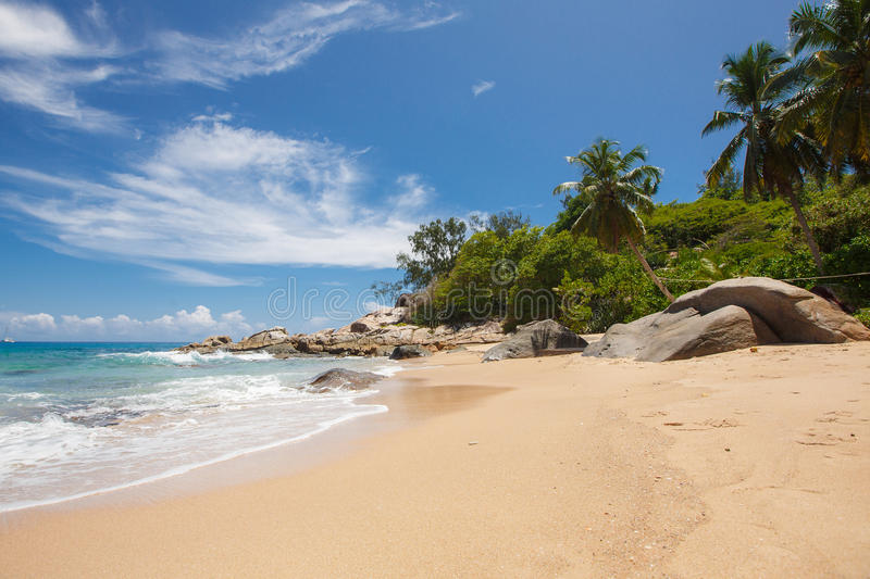 Tropical Island Beach Ambience Sound: Unspoiled Tropical Beach In Sri Lanka. Stock Photo