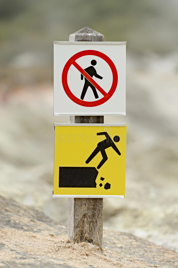 Unstable Ground. Warning sign at Wai-O-Tapu volcanic area, New Zealand stock image