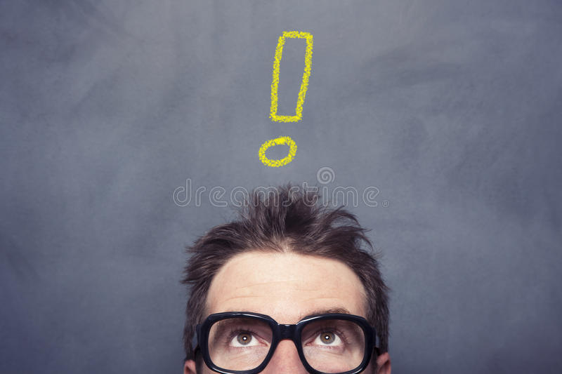 Unstable Man. Front of the blazckboard royalty free stock photography