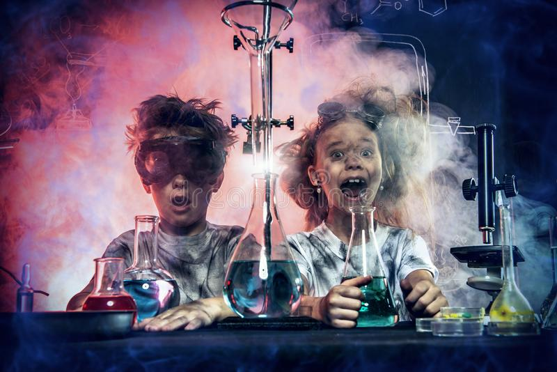 Unsuccessful chemical experiment royalty free stock images