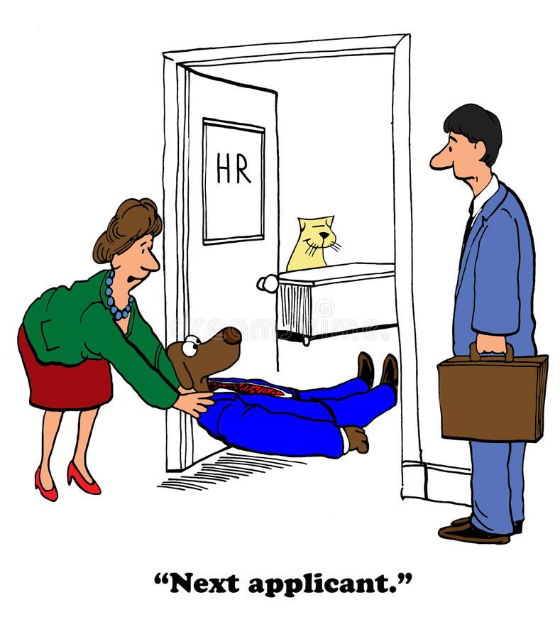 Unsuccessful Job Interview. Business cartoon about a failed job interview royalty free illustration