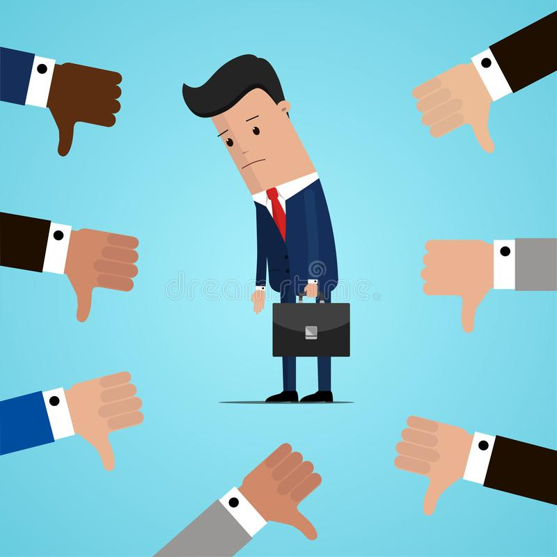 Unsuccessful and sad businessman and many hands with thumbs down. Dislikes and negative feedback concept. Vector illustration vector illustration