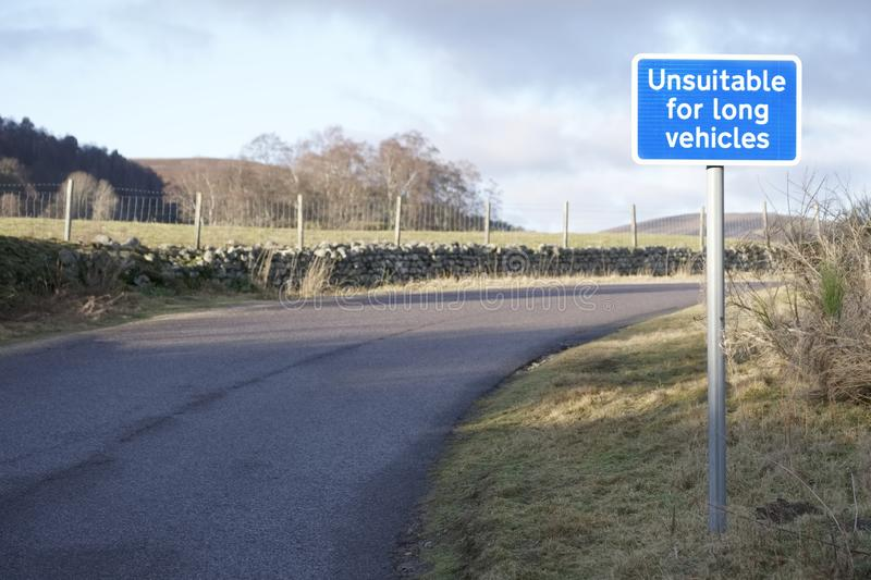 Unsuitable for long vehicles road safety sign in rural countryside Scotland stock photos