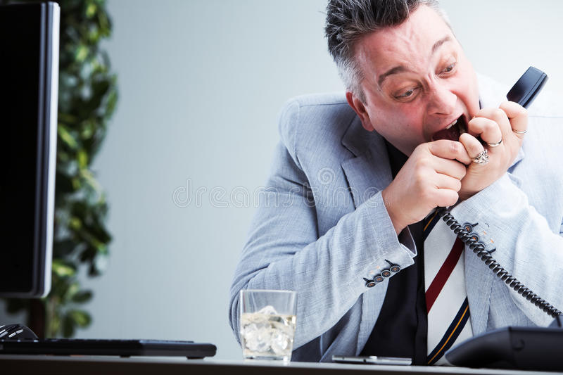 Unsupportive call center operator shouting royalty free stock photography