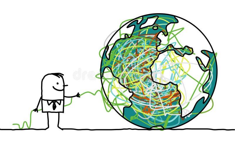 untangling för jordman stock illustrationer