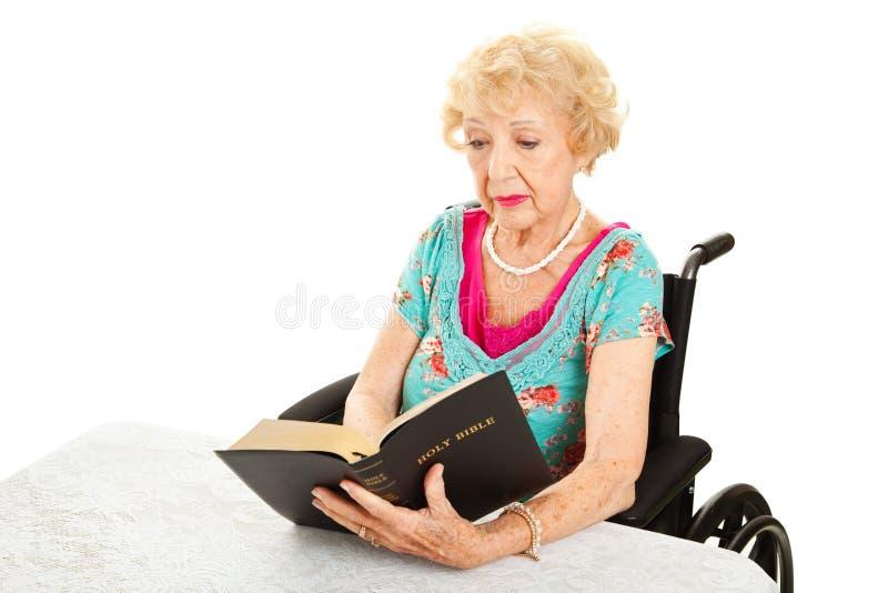 Untaugliche ältere Frau liest Bibel lizenzfreies stockfoto