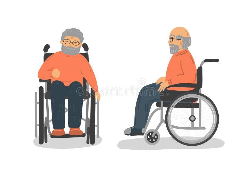 Untauglicher älterer Mann im Rollstuhl Vordere und Seitenansicht lizenzfreie abbildung