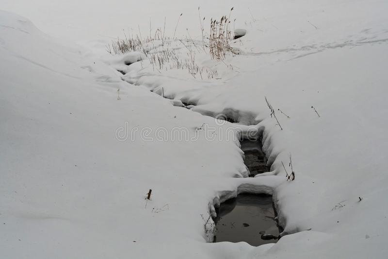 Unter dem Schnee Die nicht-einfrierenden Kurven des Slavyanka-Flusses in Pavlovsk-Park lizenzfreies stockbild