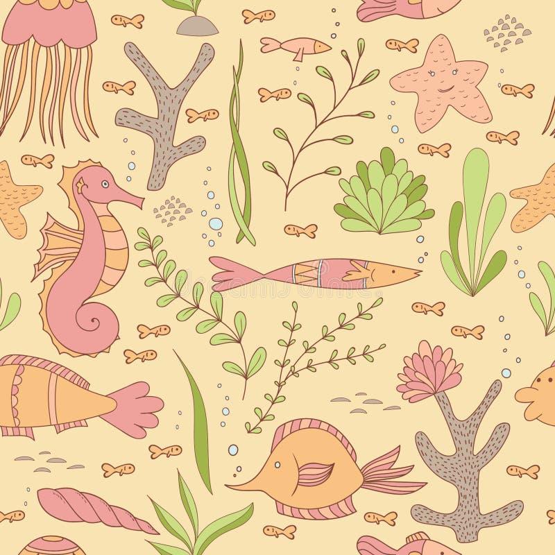 Unter dem Seenahtlosen Muster mit Fisch-, Seahorses-, Oberteil-, Seesternen, Meerespflanzen und Korallen stock abbildung