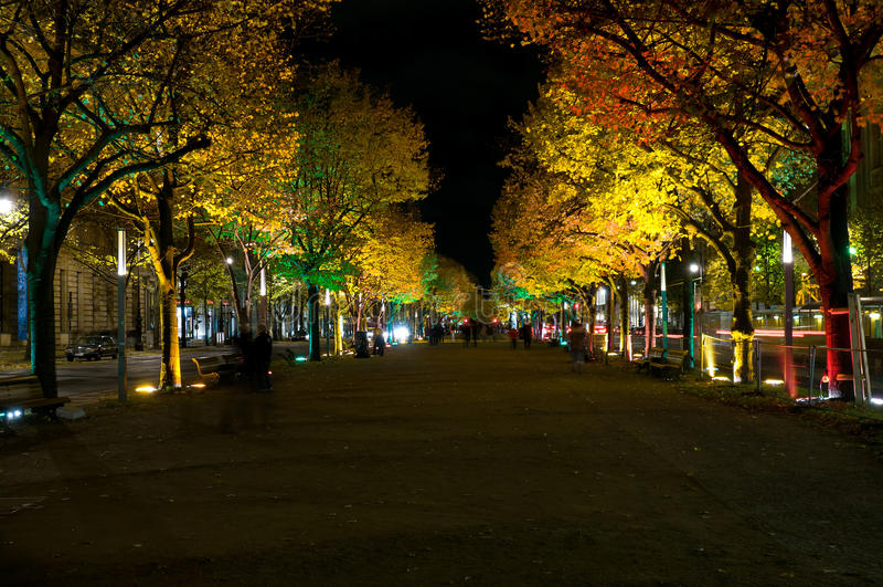 Unter den Linden. Festival of Lights. October 2010 stock photography