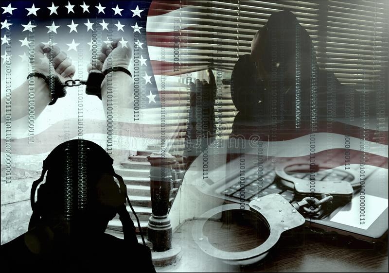 Unter der Überwachung und unter dem Gewehr, der Gesamtsteuerung, der Beschränkung von Rechten und den Freiheiten, ausspionierend  stockbilder