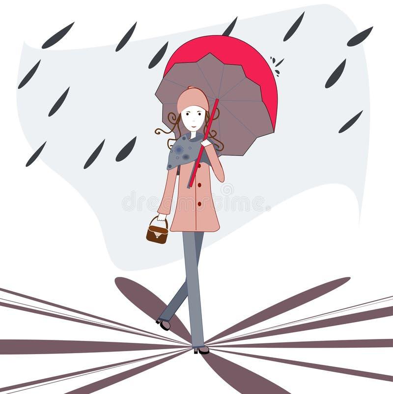 Unter einem Regenschirm stock abbildung