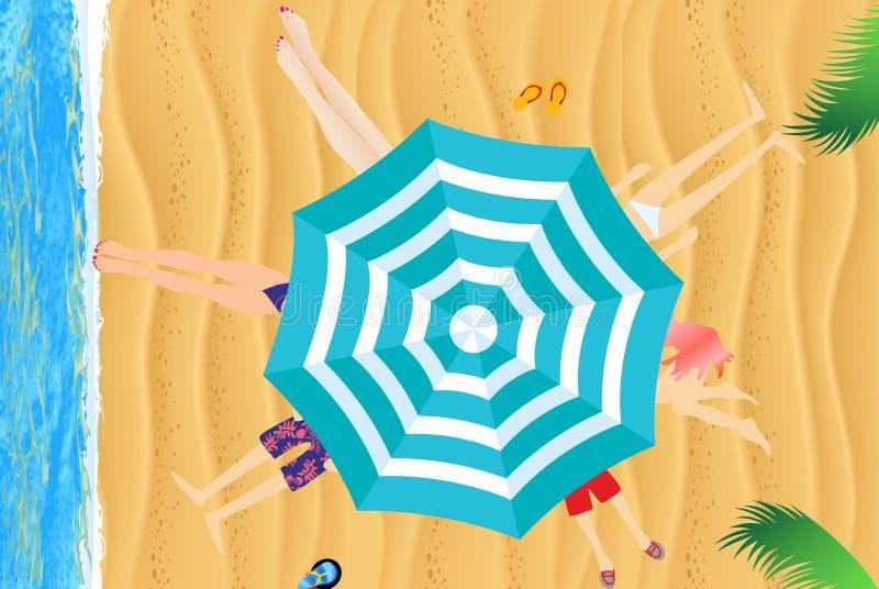 Unter einem Regenschirm auf dem Strand vektor abbildung