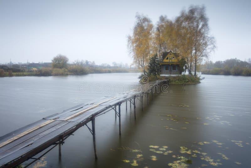 Unter gelben Bäumen unterzubringen Brücke, lizenzfreie stockbilder