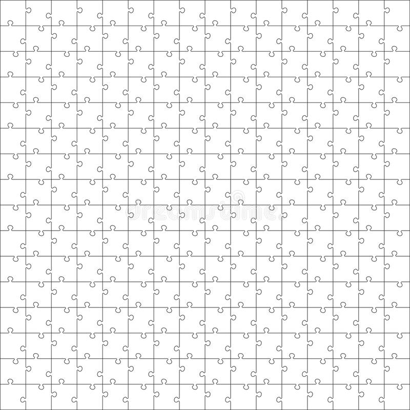 Unter Verwendung der Puzzlespielstücke dieser Abbildung können Sie Puzzlespiel jeder möglicher Größe bilden Jedes Stück ist eine  lizenzfreie abbildung