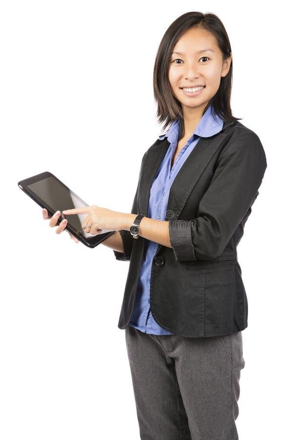 Unter Verwendung des Tablet-Computers oder des iPad stockbilder