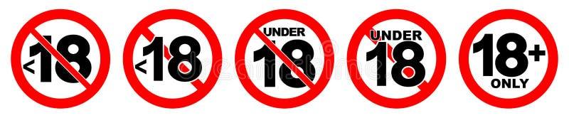 Unter 18 Zeichen nicht erlaubt Nr. achtzehn in Rot gekreuztem Kreis vektor abbildung