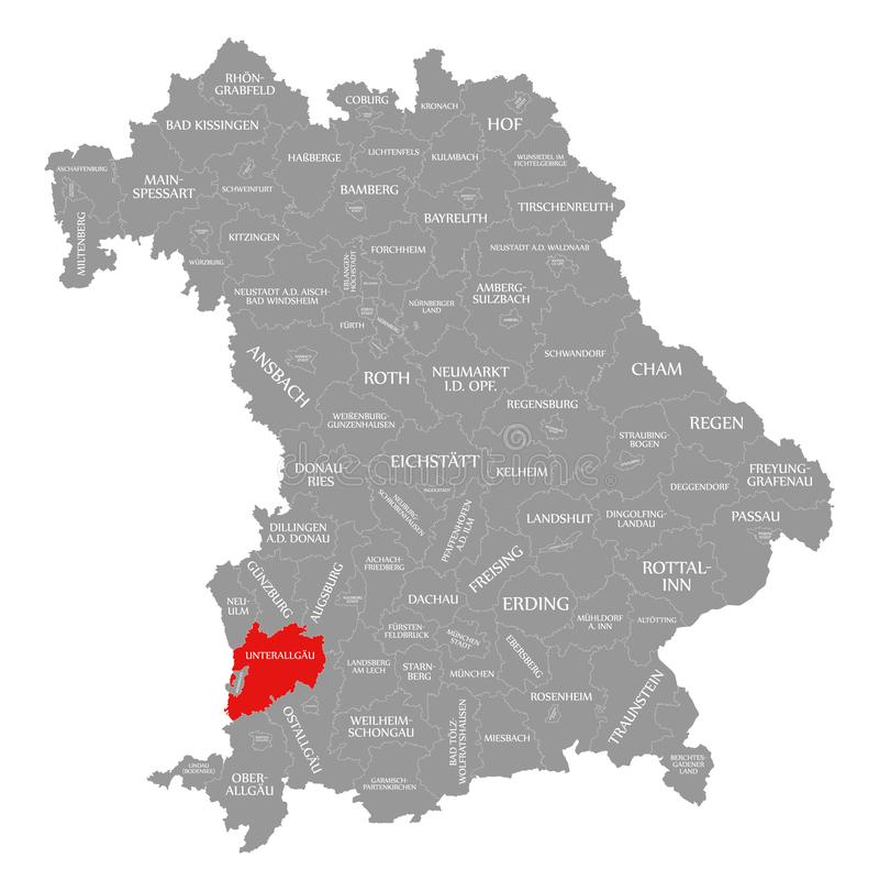 Unterallgaeu okręgu administracyjnego czerwień podkreślająca w mapie Bavaria Niemcy ilustracja wektor