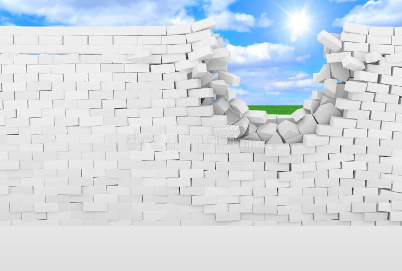 Unterbrochene Backsteinmauer mit schöner Landschaft nach stock abbildung