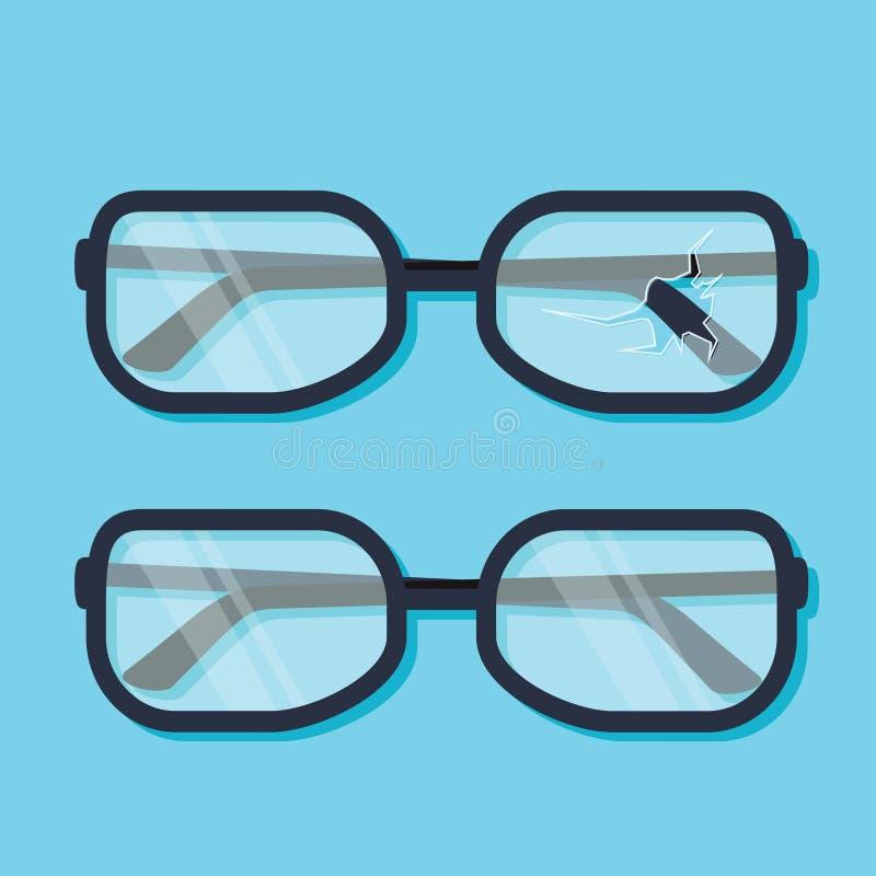 Unterbrochene Gläser Flaches Design der Vektorillustration Lokalisiert auf BAC lizenzfreie abbildung