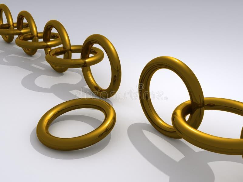 Unterbrochene Goldkette lizenzfreie abbildung