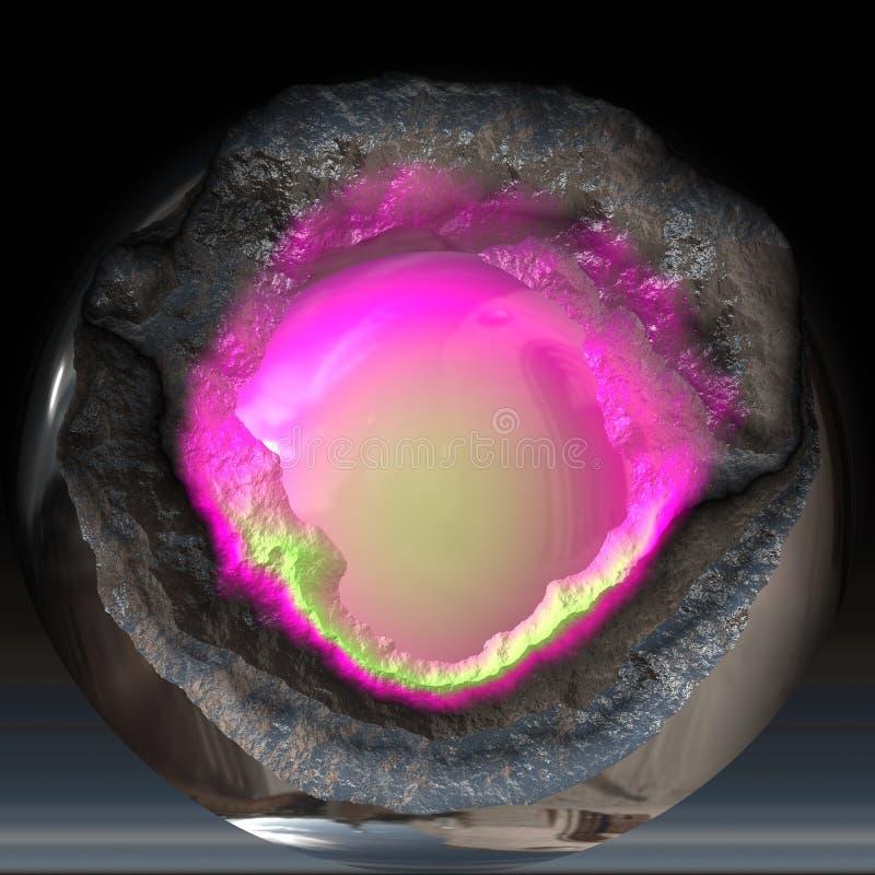 Unterbrochene Kristallkugel stock abbildung