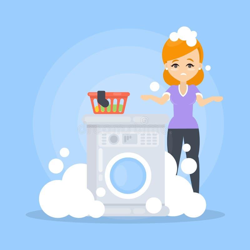 Unterbrochene Waschmaschine lizenzfreie abbildung