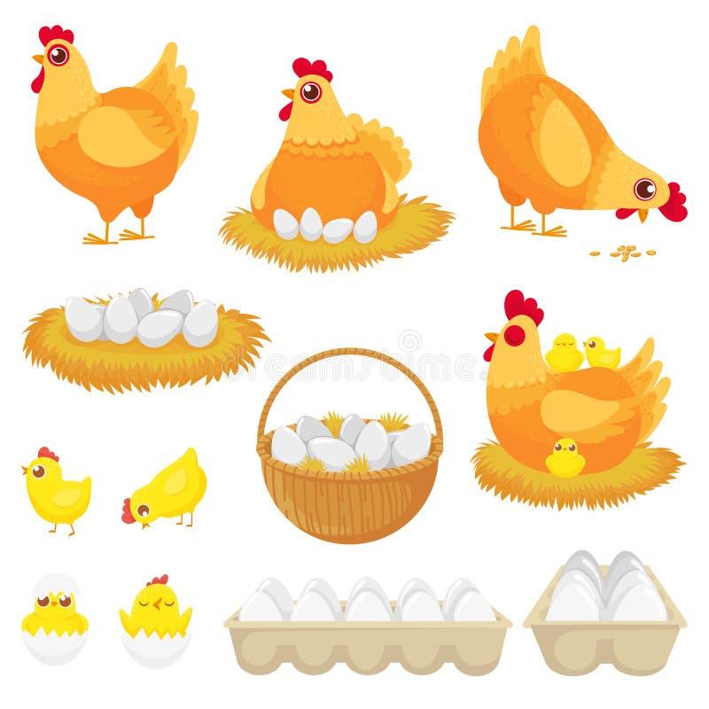 unterbrochener Eidotter Hennenlandei, -nest und -behälter des Hühnereikarikaturvektor-Illustrationssatzes stock abbildung