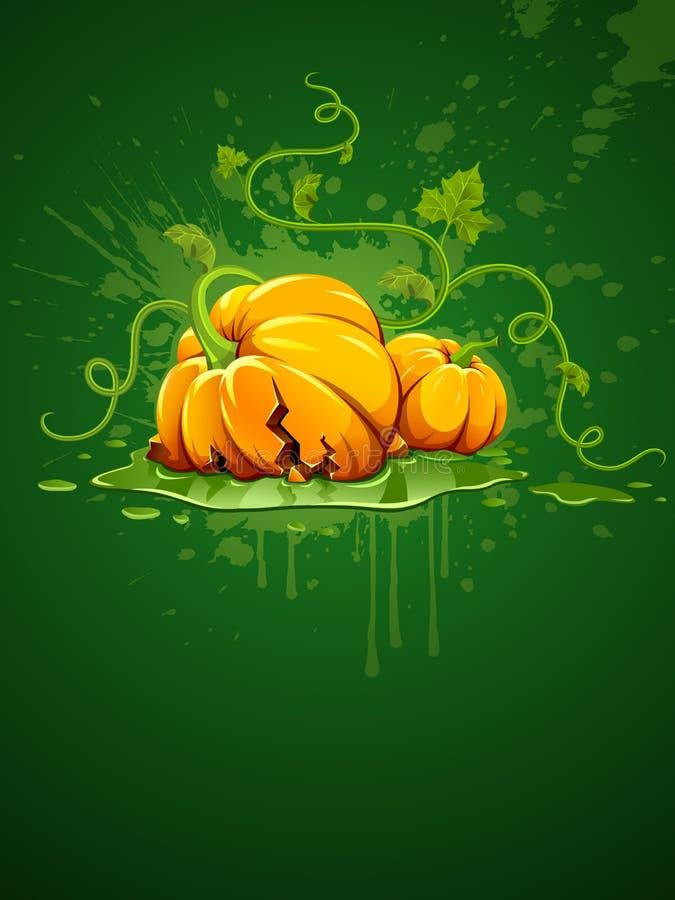 Unterbrochener Halloween-Kürbis auf grunge Hintergrund stock abbildung