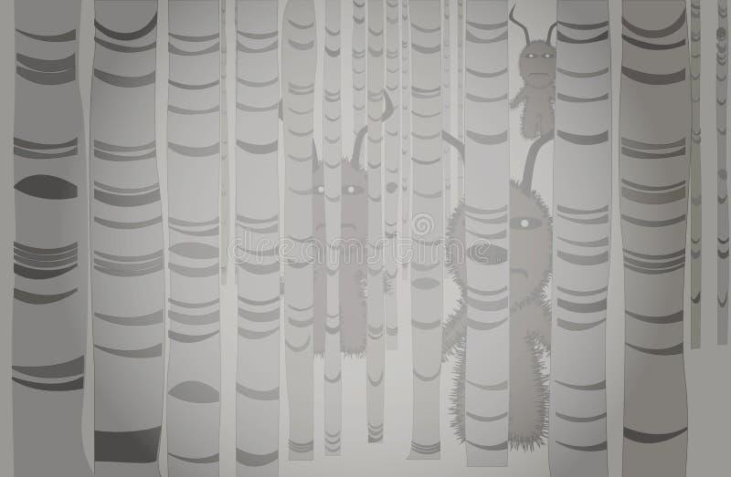 Untergetaucht im Nebel gibt es einen Wald von Pappeln mit merkwürdigen Anwesenheit lizenzfreie abbildung
