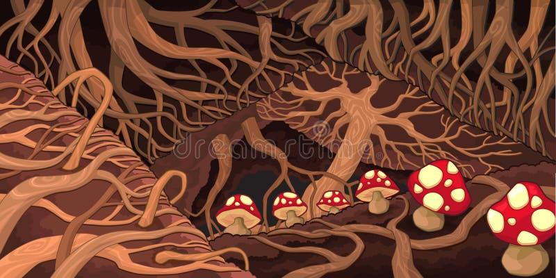 Untergrund mit Wurzeln und Pilzen. vektor abbildung