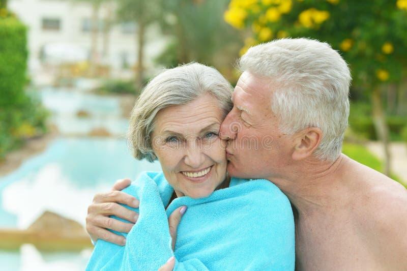Unterhaltende ältere Paare stockbild
