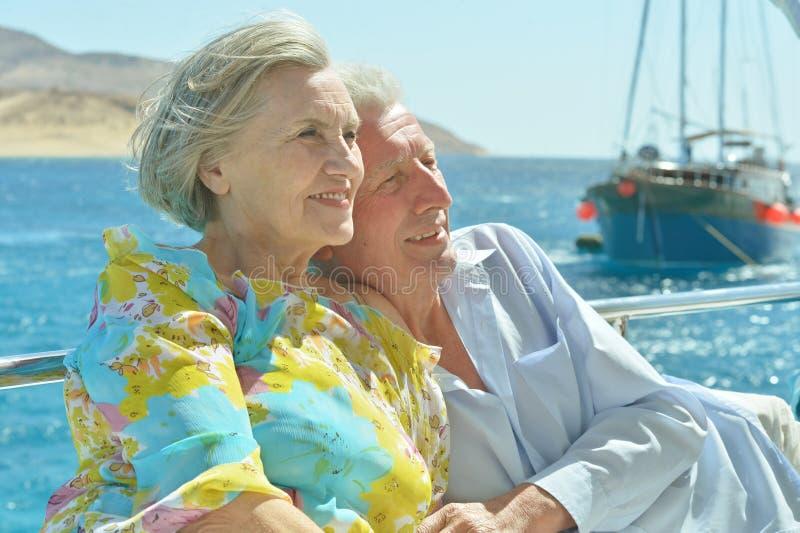 Unterhaltende ältere Paare stockfotos