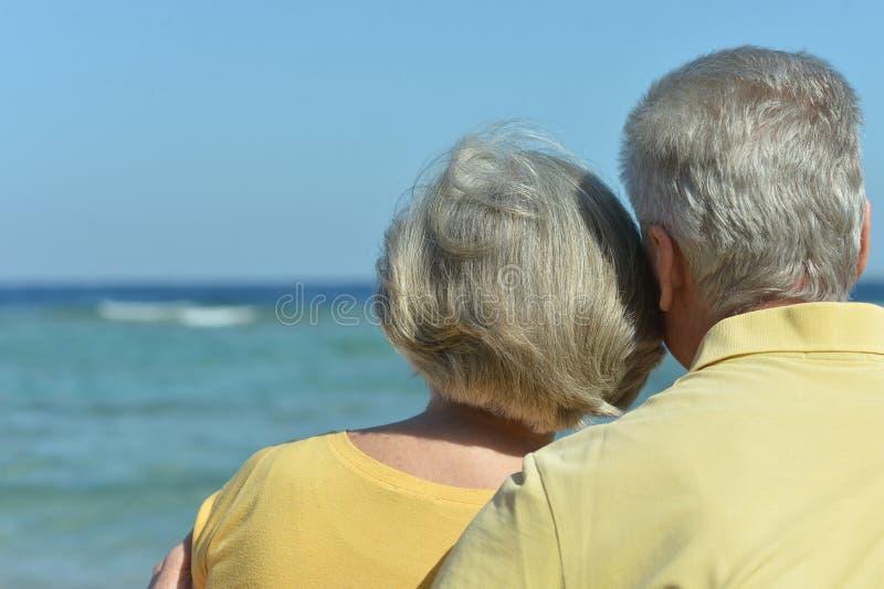 Unterhaltende ältere Paare auf einem Strand lizenzfreie stockfotos